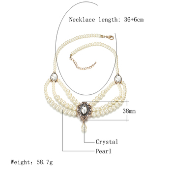 Kinel 2020 New Vintage Multilayered Beads Chain Romantic Choker Necklace Simulated Pearl Necklace For Morocco Women Jewelry 2