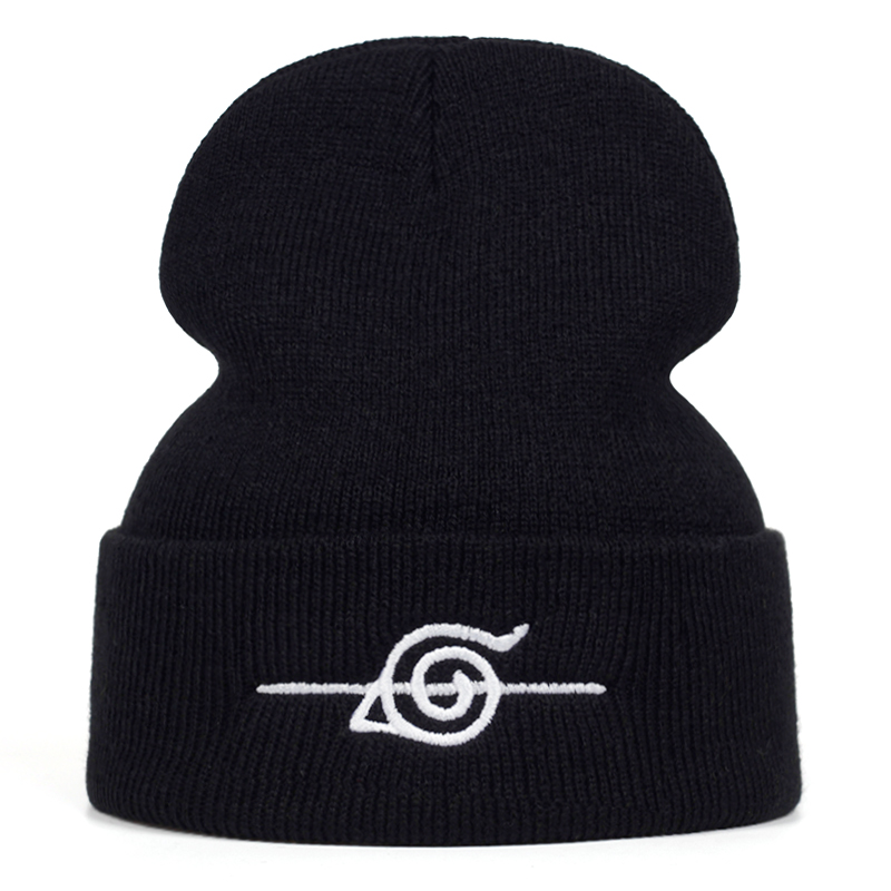 Naruto Uchiha Uzumaki Cotton Embroidery Casual Beanies For Men Women Knitted Winter Hat Solid Hip-hop Skullies Bonnet Unisex Cap