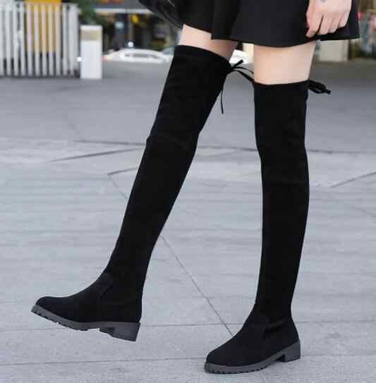 Nausk coxa botas altas femininas botas de inverno sobre o joelho botas de estiramento plano sexy sapatos de moda 2018 preto botas mujer