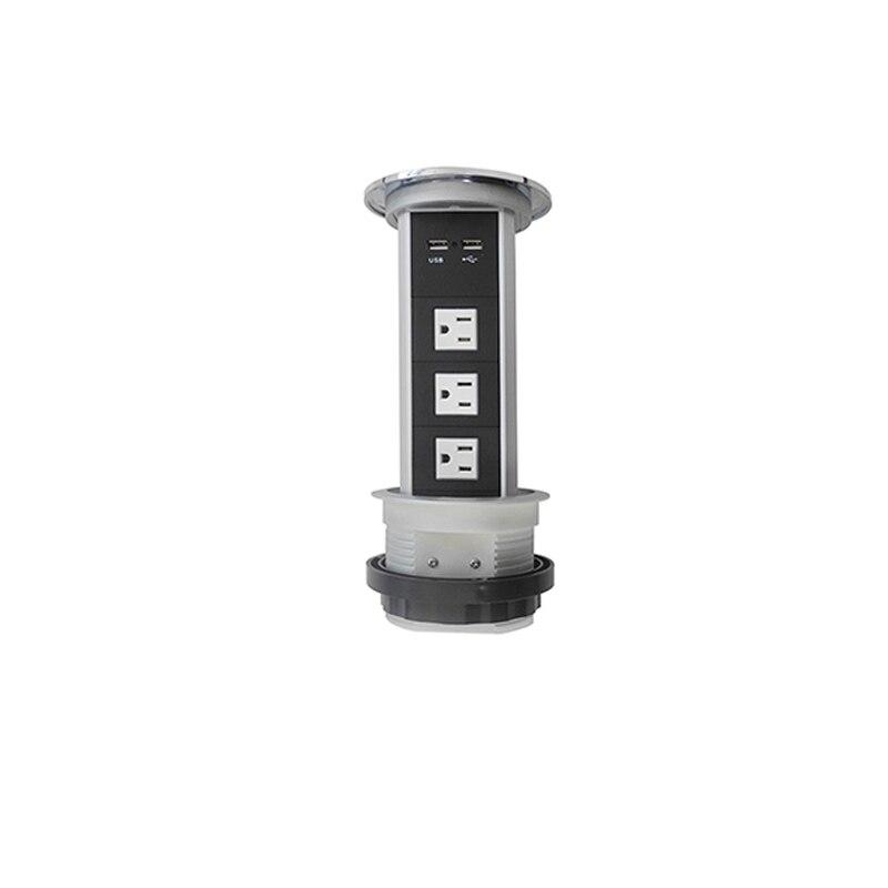 Prise de courant de levage motorisée automatique d'oem 3 prise de courant américaine et 2 Ports d'usb pour le bureau à la maison/cuisine/salle de conférence Hom