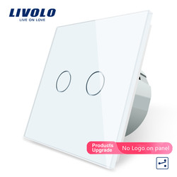 Livolo EU Standard Touch Switch, 2 Gang 2 Way Control,Crystal Glass Panel,Wall Light Switch,220-250V,VL-C702S-11 for Smart Home