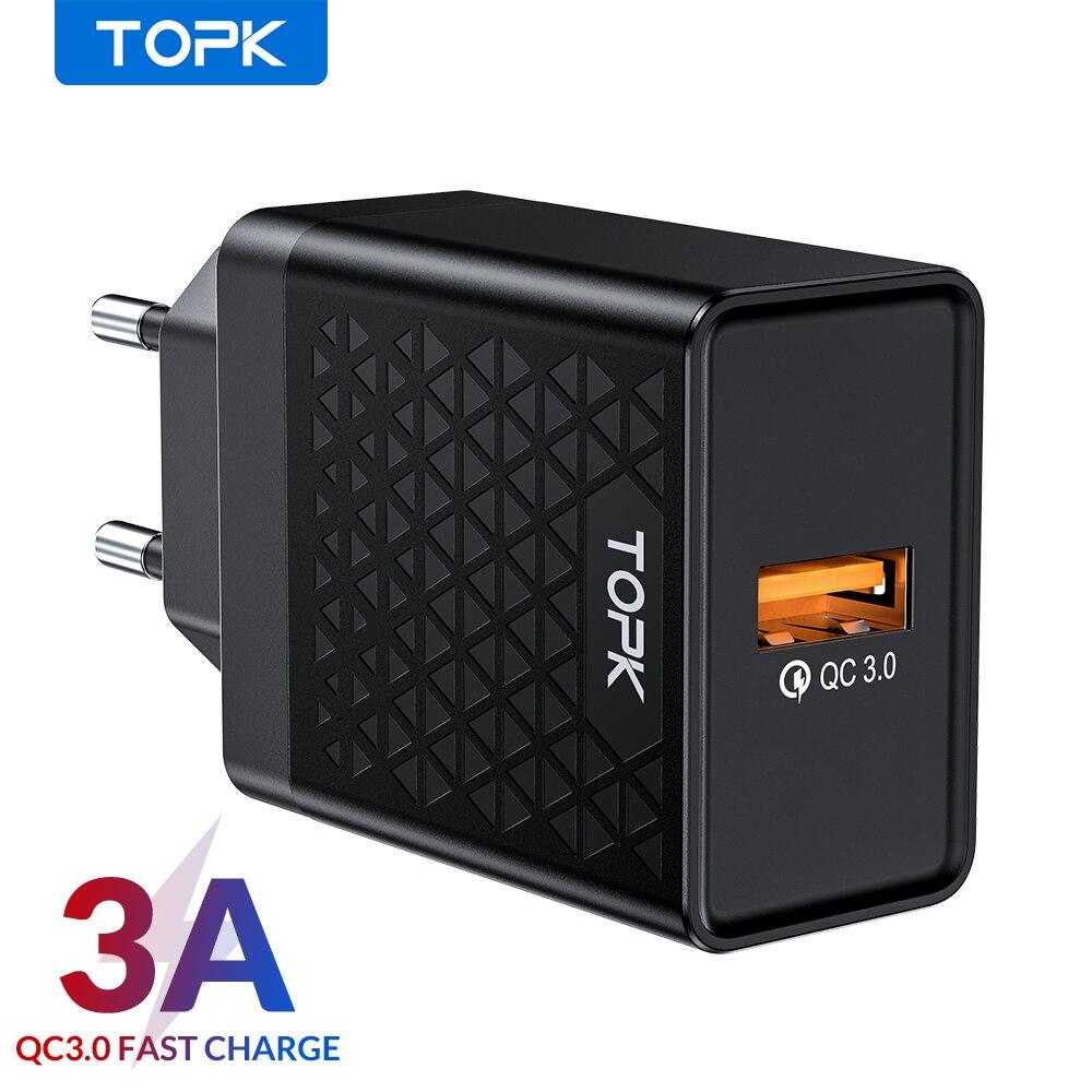 Topk b154q 18 w carga rápida 3.0 rápido carregador do telefone móvel plugue da ue parede usb adaptador de carregador para iphone samsung xiaomi
