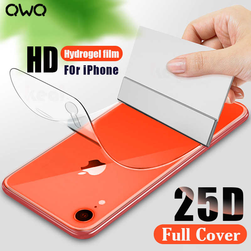25D Full Cover Curved Hydrogel Film For iPhone XR X XS MAX Screen Protector For iPhone 6 6s 7 8 Plus Back Soft Film Not Glass