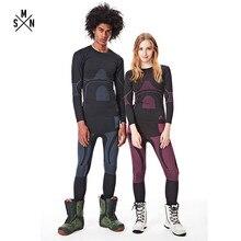 SMN комплект термобелья для лыжного спорта, уличное Спортивное Впитывающее нижнее белье для взрослых мужчин и женщин, парная одежда для катания на лыжах и сноуборде