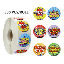 500 pcs / roll thank you stickers  6 kinds of design party handmade DIY decoration scrapbook stationery