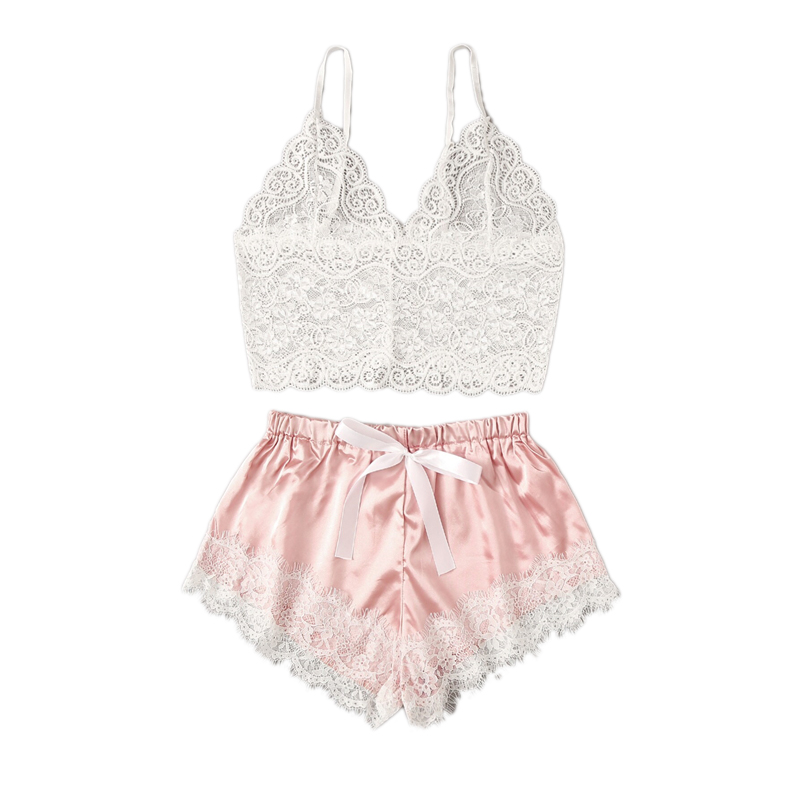 Floral Lace Bralette With Satin Shorts Lingerie Set Women 2019 Summer Sexy Sets Ladies Bra And Panty Underwear Pajama Set-Pink Women Women's Clothings cb5feb1b7314637725a2e7: Pink Sky Blue
