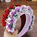 Женский обруч для волос, обруч с фиолетовыми и красными цветами розы, повязка на голову с кристаллами в стиле барокко, свадебная бижутерия д...
