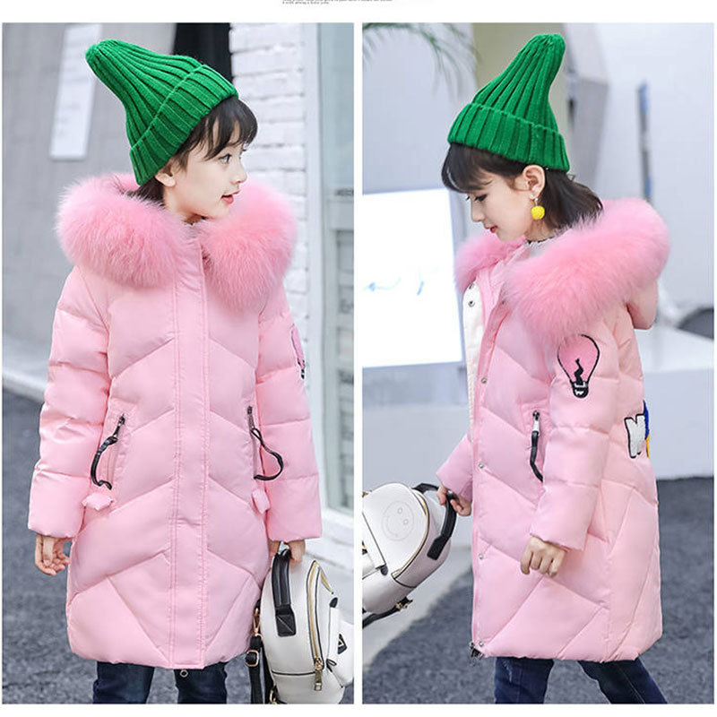 Image 2 - Girls Cotton padded Outerwear    Coats 2019 Autumn Winter Children Warm Clothes Princess Girls Faux Fur Collar Jacket Age 5 13 T-in Down & Parkas from Mother & Kids