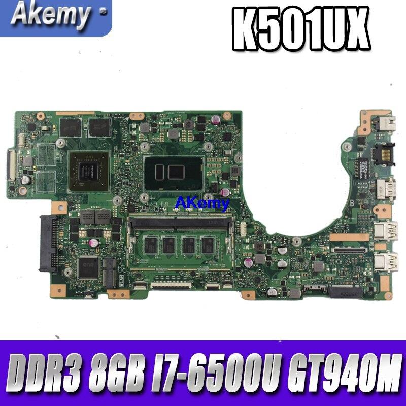 Материнская плата для ноутбука SAMXINNO K501UX для For Asus K501UB K501UQ K501UXM A501U оригинальная материнская плата DDR3 8GB RAM I7 6500U GT940M