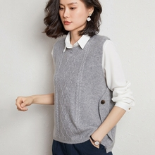 Women's Spring Autumn 100% Pure Wool Knitted Vest Both Sides Split Loose Sweater Vest Waistcoat Female Pullover Sleeveless Top