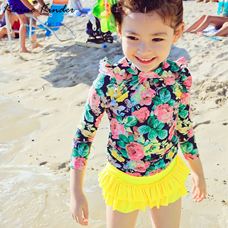2-15Y Girls Swimwear Children's Long Sleeve Rash Guard Set UV Protection Floral Beach Pool Teenager Girl Bathing Swimming Suits
