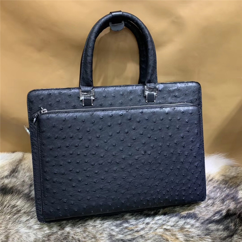Formal Business Style Authentic Ostrich Skin Men Large Briefcase Laptop Purse Handbag Genuine Exotic Leather Male Portfolio Bag