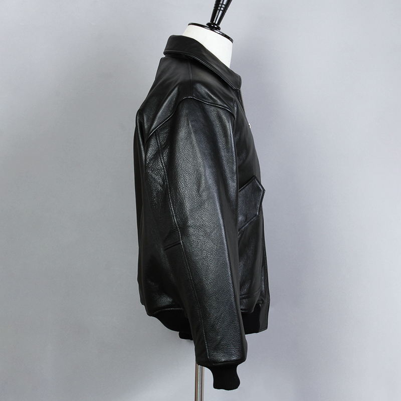 Fly Air Force Flight Genuine Men Solid Cowskin Bomber Jacket A2 Casual Motorcycle Leather Coat
