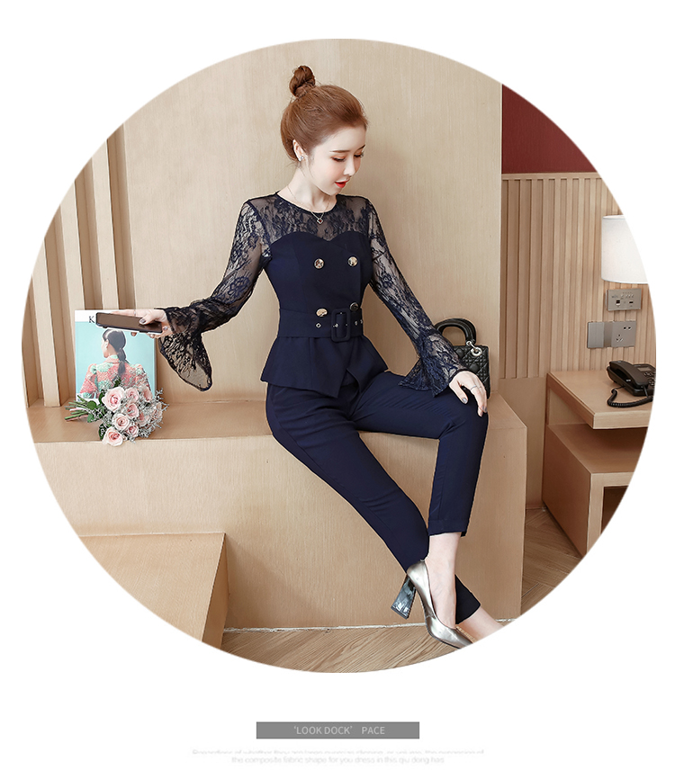 Blue Lace Office Two Piece Sets Outfits Women Plus Size Flare Sleeve Tops And Pants Suits Elegant Ladies Ol Style Korean Sets 37