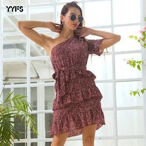 Летнее платье в стиле бохо с коротким рукавом, однотонное черное платье с рюшами на одно плечо, женское мини-платье в горошек, повседневное х...