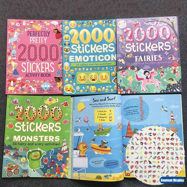2000 ملصقات الإنجليزية كتاب أنشطة للأطفال/الحيوان/الأميرة/مزرعة/الغريبة/هالوين ملصقات للبنين والبنات لعبة الهدايا