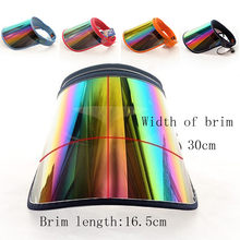 Women Summer Empty Top Sun Visor Hat Rainbow Plastic Panel UV Protection Angle Large Wide Brim Motorcycle Beach Cap#g20(China)
