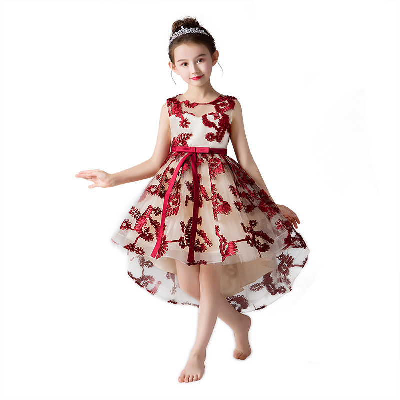 New Bow Flower Tulle Princess Formal Wedding Flower Girl Dress Birthday Party Dress
