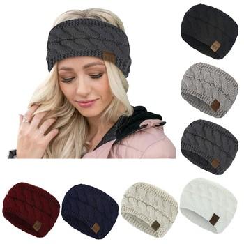 Kobiety utrzymują ciepło Knitting Hairband kobiety elastyczność Solid Color ciepłe jesienne i zimowe dziewiarskie luźne akcesoria opaska do włosów tanie i dobre opinie CN (pochodzenie) POLIESTER WOMEN Dla osób dorosłych Opaski na głowę moda Stałe Headwear