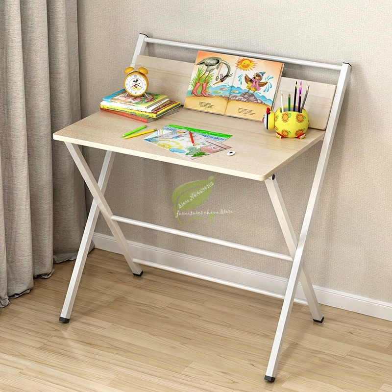 Simple Desktop Computer Desk Home Office Folding Table Steel Legs Learning Desk Storage Rack Laptop Stand Outdoor Folding Table