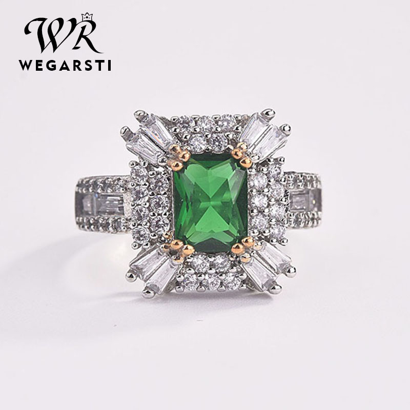 WEGARSTI Hot Sale Square Natural Emerald Rings For Women Vintage Real Silver 925 Ring Mens Jewelry Brand Anniversary Party Gifts
