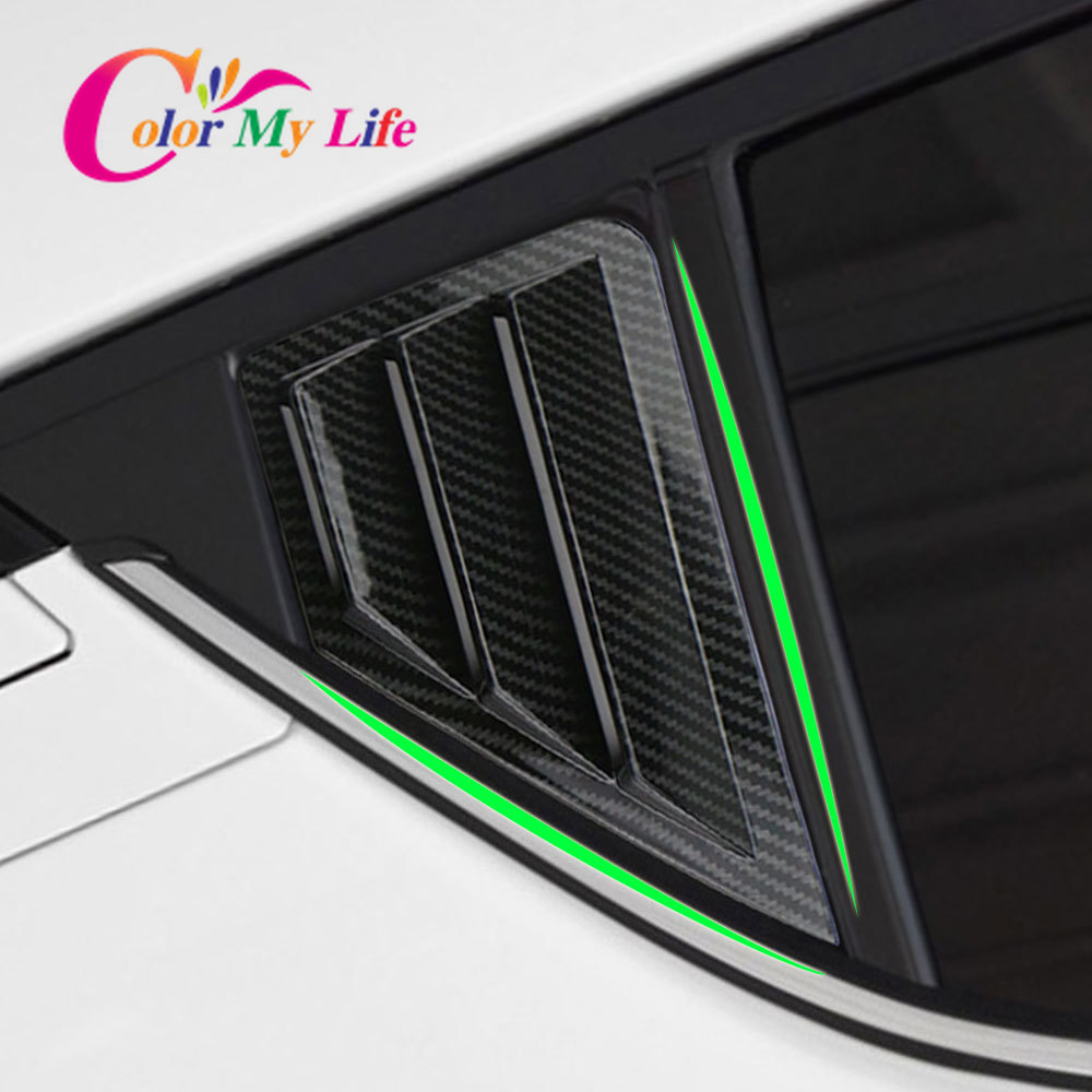 Color My Life 2Pcs Car Rear Windows Cover Sticker Window Triangle Shutters Trim for Toyota C-HR CHR C HR 2016 - 2020 Accessories