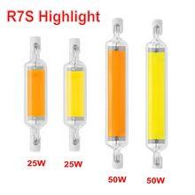 O bulbo de vidro da espiga do tubo do diodo emissor de luz r7s 78mm 20w 25 118mm 50w r7s lâmpada de milho j78 j118 substitui a luz do halogênio 100w 150 ac 220v 110v lampadas