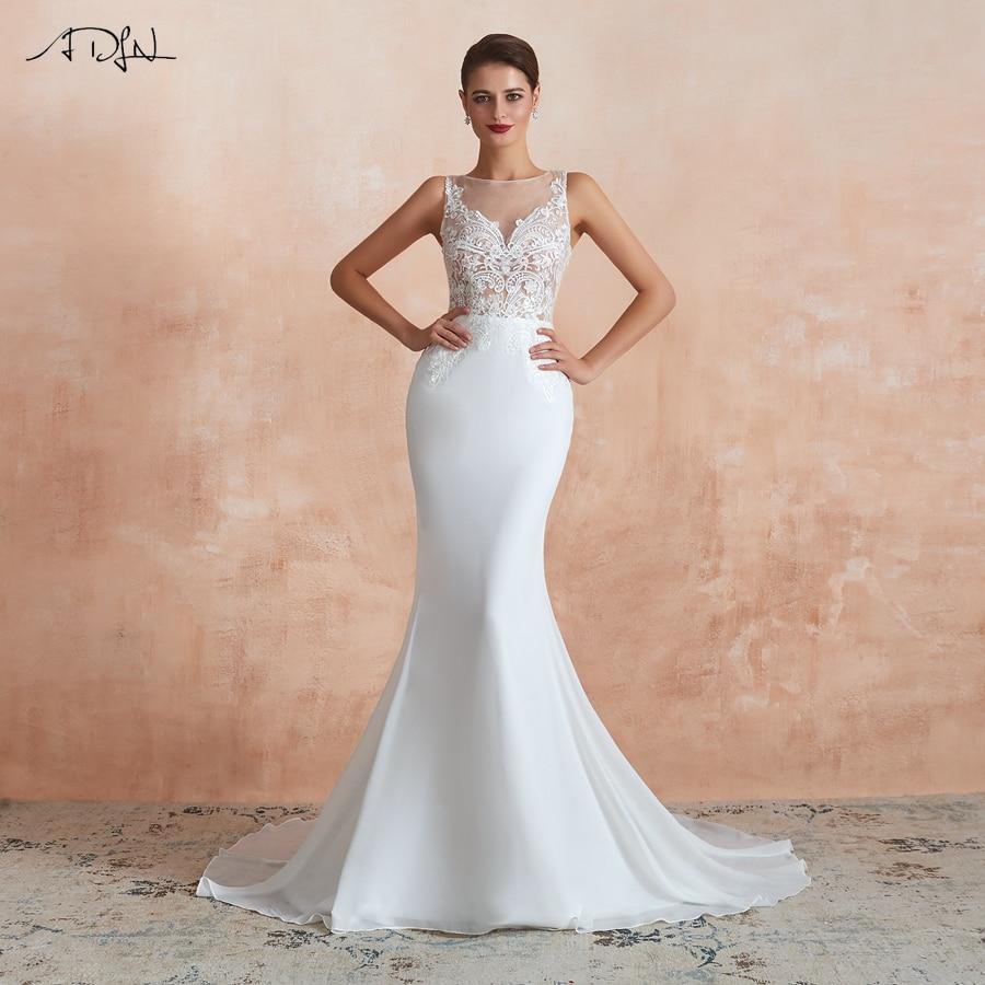 ADLN Elegant Scoop Neck Wedding Dresses Illusion Sleeveless Applique Mermaid Wedding Gown for Bride 2020 Vestido De Noiva