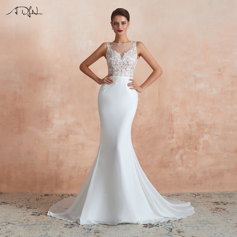 ADLN Elegant Scoop Neck Wedding Dresses New Sleeveless Applique Mermaid Wedding Gown For Bride 2020 Vestido De Noiva