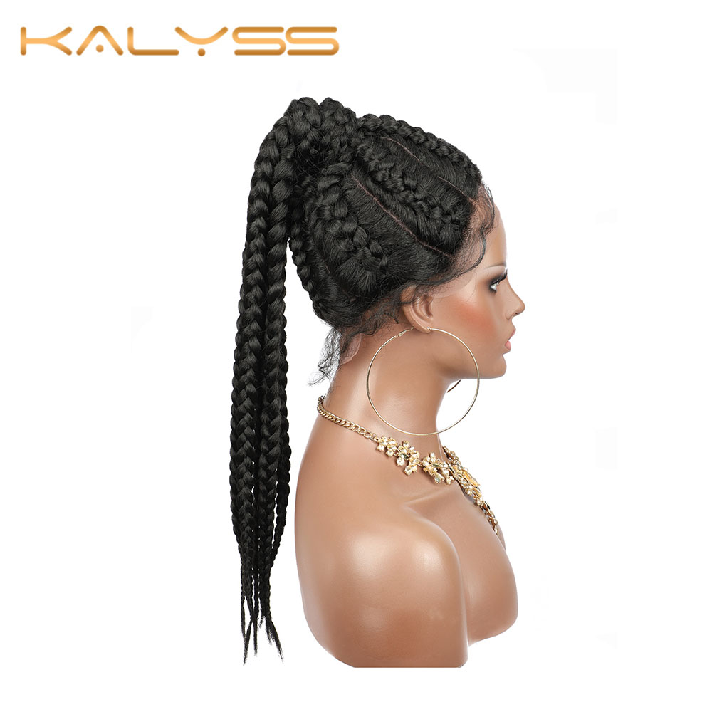 Kalyss Wigs For Women 7 Tiny Box Braided Wig Swiss Lace Front With Baby Hair Synthetic Lace Front Wig Lace Braided Wigs 22 Inch