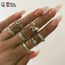 Hua Tang 7pcs Crystal Butterfly Rings Set for Women Gold Color Flower Hollow Geometric Knuckle Midi Jewellery Anillos 9073