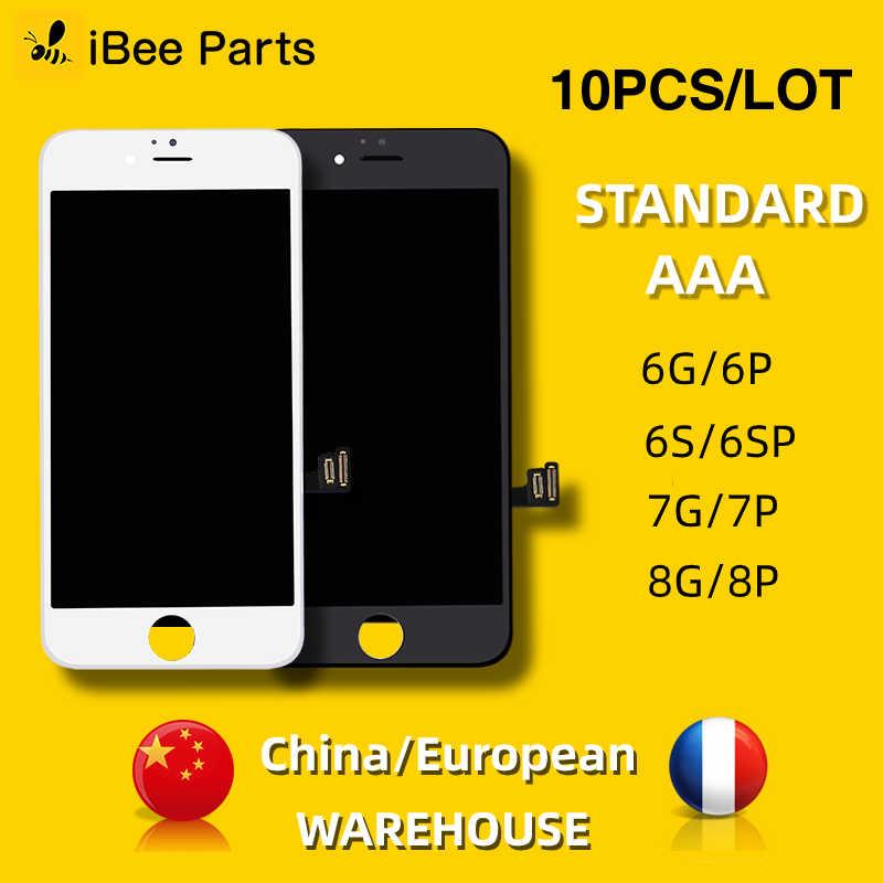IBeeชิ้นส่วน10PCSสำหรับiPhone 6 6S 7 8 PlusจอแสดงผลLCD 4.7นิ้วAAAหน้าจอเปลี่ยนเลนส์pantallaยุโรปโกดัง