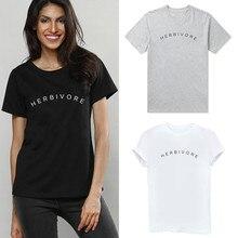 HERBIVORE Letter Print T Shirt Women Short Sleeve O Neck Loose Tshirt 2020 Summe