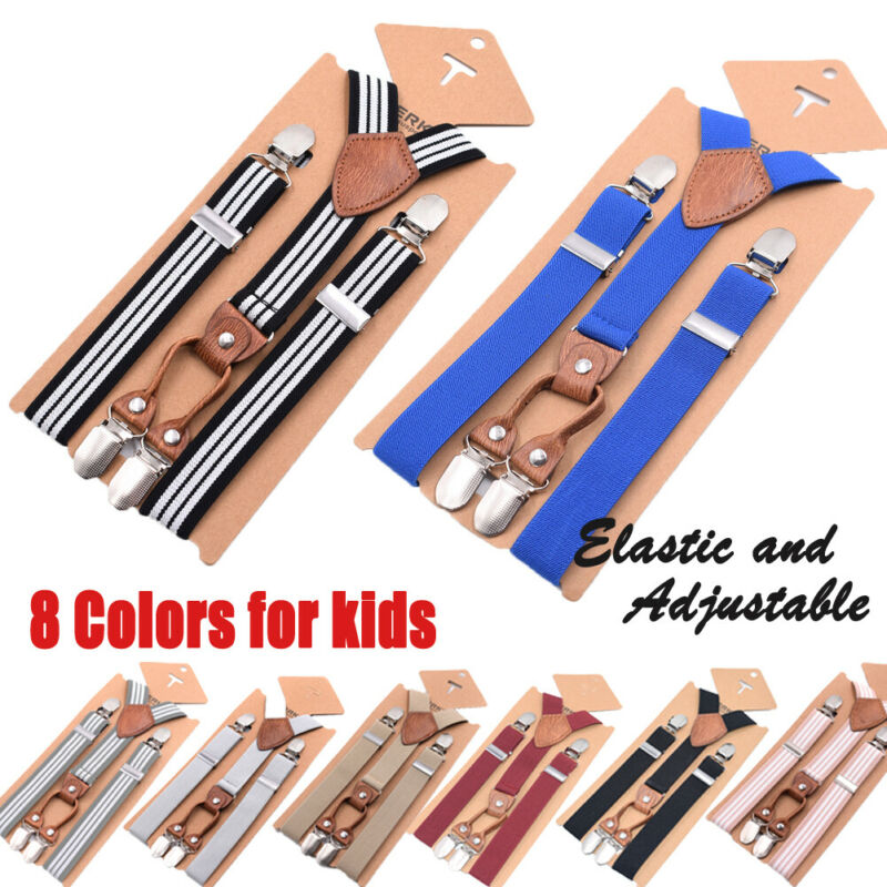 8 Colors Children Kids Boys Girls Clip-on Adjustable Elastic Y-Back Braces Suspenders Clothes Accessories