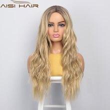 Волосы aisi длинные большие волнистые Омбре блонд парик для