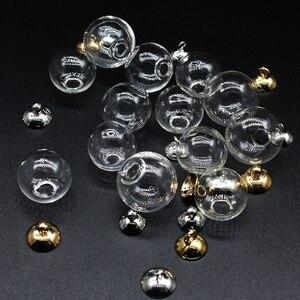 Image 5 - 200 takım 14mm 18mm boş cam küre topu ve cam küre kapaklar Charms kolye cam şişeler dilek şişe cam topları küreler