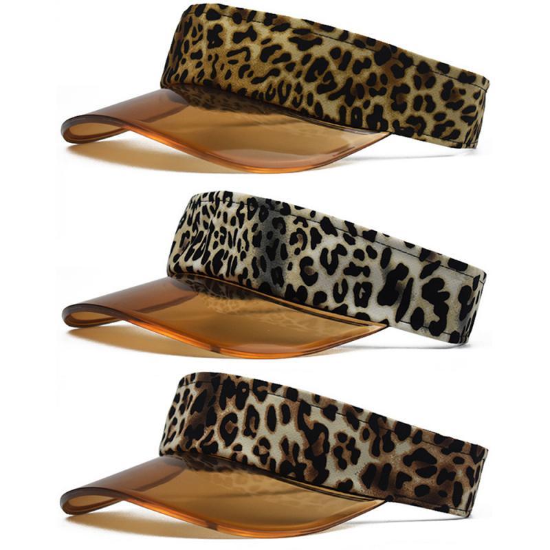 2020 New Summer Seaside Resort Beach Sunshade Hat Fashion Leopard-print Outdoor Sunhat Adjustable Sport Headband Visor Cap