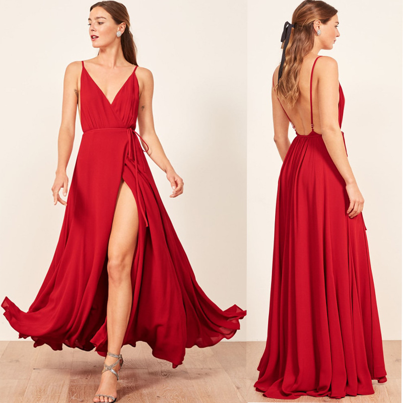 Long Bridesmaid Dresses V Neck Simple Backless Red Wedding Guest Dress For Wedding Party Sexy High Slit Adult Formal Dress Long