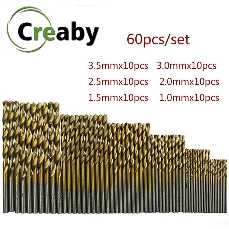 60pcs/set  1/1.5/2/2.5/3/3.5mm Twist Drill Bit Set Titanium Coated High Speed Steel For Iron Aluminum Wood Plastic