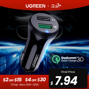 Image 1 - Ugreen Car Charger Quick Charge 3.0 USB Fast Charger for Xiaomi mi 9 iPhone X Xr 8 Huawei Samsung S9 S8 QC 3.0 USB Car Charger