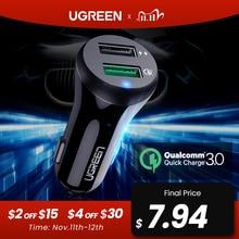 Ugreen carregador de carro carga rápida 3.0 usb carregador rápido para xiaomi mi 9 iphone x xr 8 huawei samsung s9 s8 qc 3.0 usb carregador de carro
