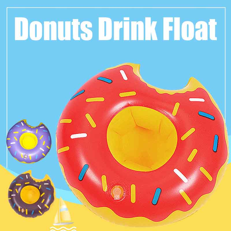Donuts Drink Float Inflatable Cup Holder Swimming Pool Party Toys Beer Bottle Coaster Beverage Float Ball Toy Accessories