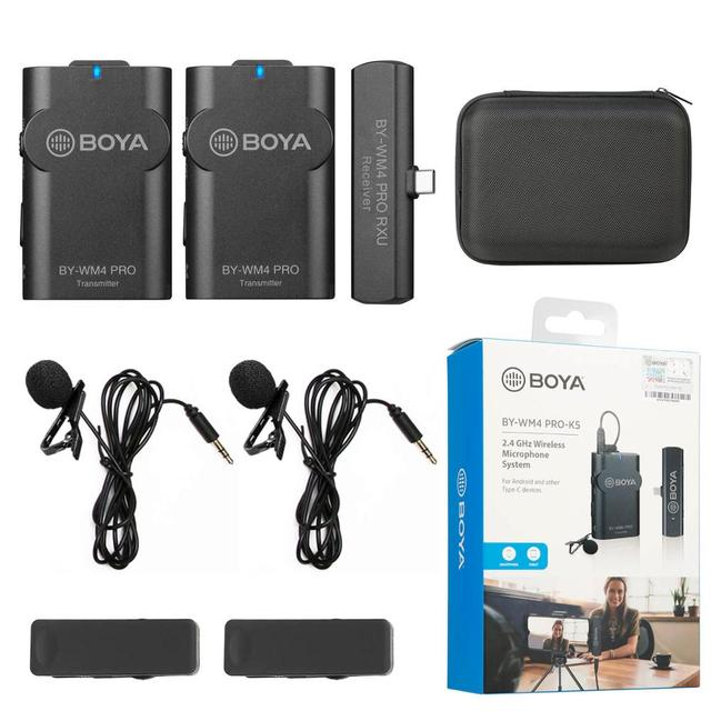 K2 nuovo sistema di microfono da bavero Boya per fotocamera Canon Nikon iOS Android Mobile Audio Recorder YouTube Facebook Live Podcast Microfono Lavalier wireless 2,4 G Vlog per fotocamera DSLR