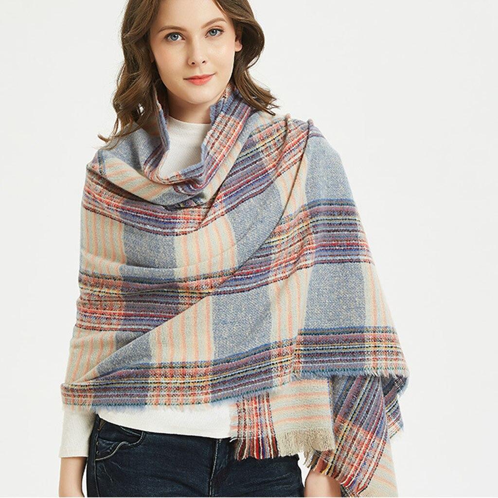 2019 Knitted Spring Winter   Scarf   Women Plaid Warm   Scarves   Shawls Luxury Neck Bandana Lady Hijab   Scarf     Wraps   Foulard Femme Mujer