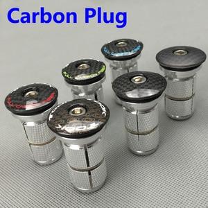 3K Carbon Plug Bicycle Fork Headset Stem Top Cap Key Expander taper Brompton Risk spacer Plug Road MTB Bike parts tube 28.6mm