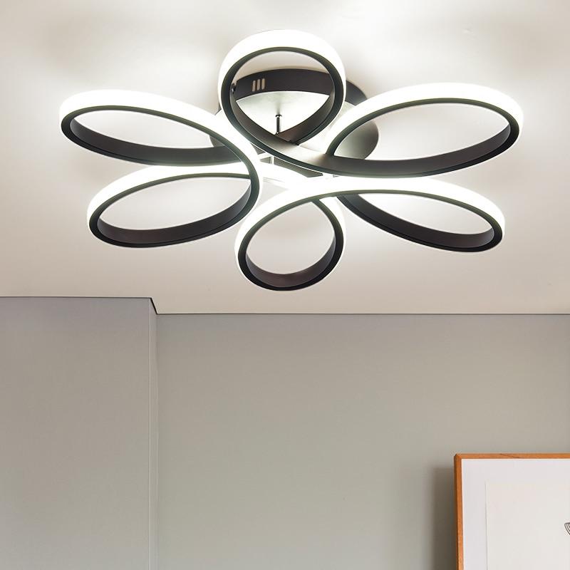Luces de techo LED modernas para sala de estar dormitorio AC85 265V color blanco/Negro control remoto iluminación interior lámpara de techo - 6