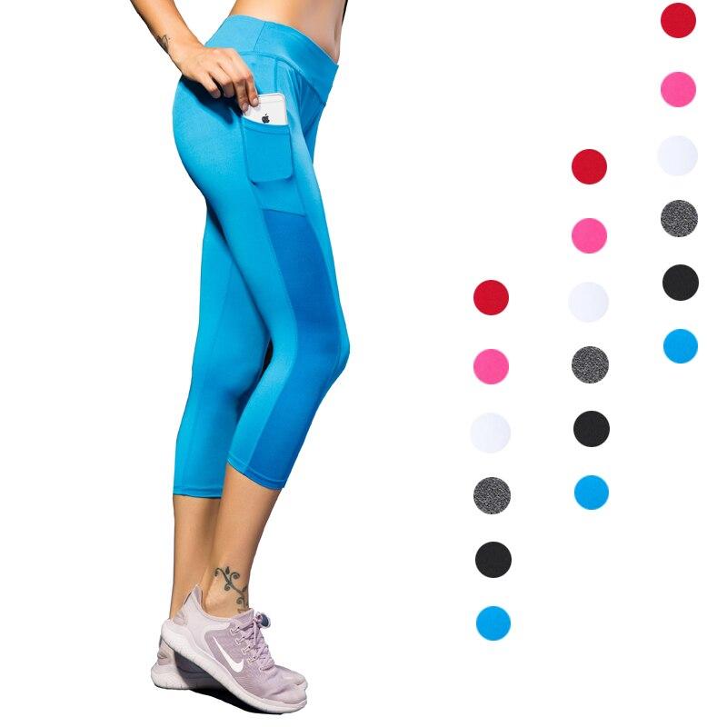 EC.MS Yoga Leggings with Pocket Mesh 3/4 Length Capri Stretch Black Blue White Pink Grey Red Female Fitness GYM Tights