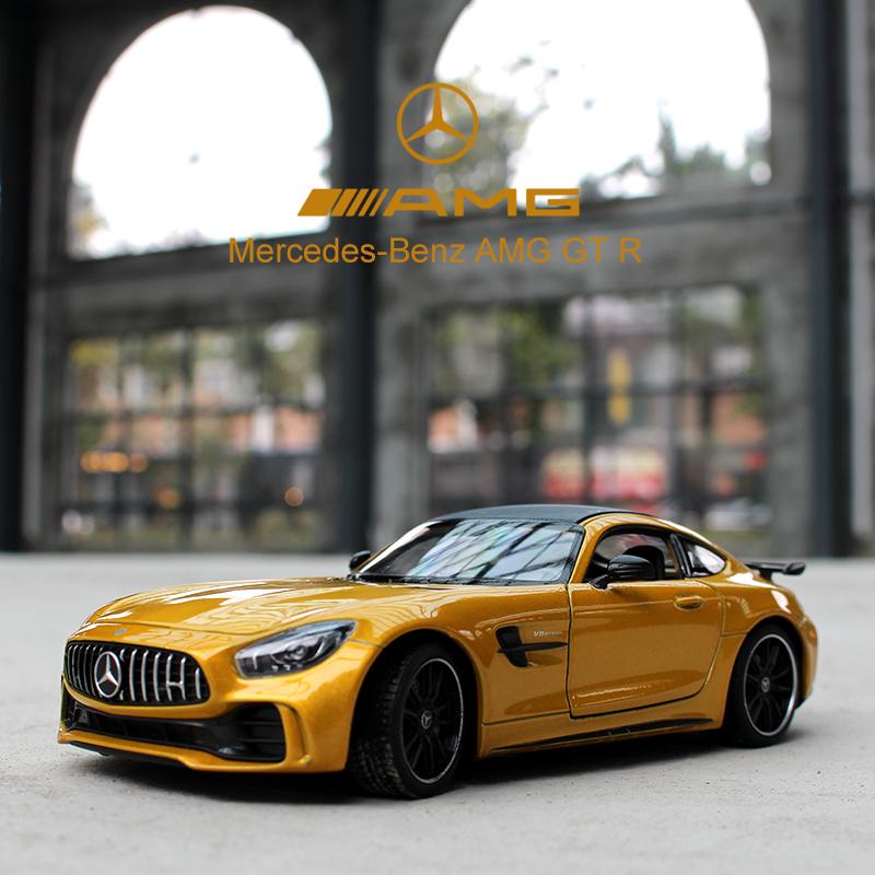 WELLY 1:24 Mercedes-Benz AMG GT Sports Car Simulation Alloy Car Model Crafts Decoration Collection Toy Tools Gift