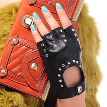 Genuine Leather Pure Sheepskin Black Women Semi Finger Fingerless Gloves Female Fashion Hip Hop Rivets Dance Mittens TB18
