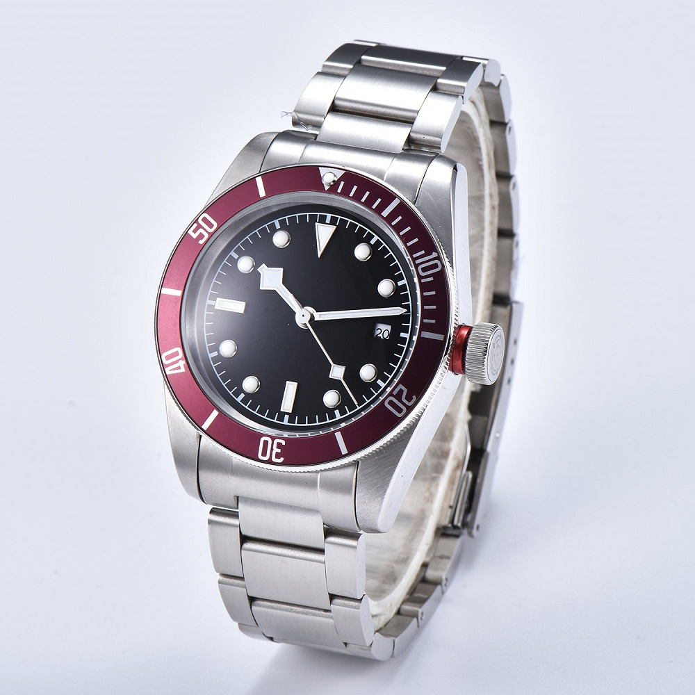 Watch Men 41mm Automatic mechanical watches red aluminum rotating bezel luminous Military men watch 06